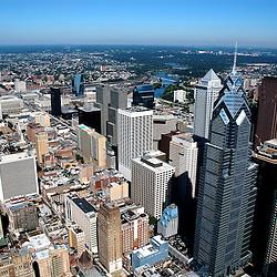 Aerial view of Philadelphia, Pennsylvania, View north west towards art museum