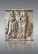 Relief sculpture called Les Trois Tyches, a Roman relief sculpture circa 160 AD found on the Appia Way, Rome, Italy. A Tyche was the deity of luck or fotune and brought prosperity to a city. She is the daughter of Aphrodite and Zeus or Hermes. From the Borghese Collection  Inv MR 873   (or Ma 590), The Louvre Mueum, Paris .<br /> <br /> If you prefer to buy from our ALAMY STOCK LIBRARY page at https://www.alamy.com/portfolio/paul-williams-funkystock/greco-roman-sculptures.html- Type -    Louvre    - into LOWER SEARCH WITHIN GALLERY box - Refine search by adding a subject, place, background colour,etc.<br /> <br /> Visit our CLASSICAL WORLD HISTORIC SITES PHOTO COLLECTIONS for more photos to download or buy as wall art prints https://funkystock.photoshelter.com/gallery-collection/The-Romans-Art-Artefacts-Antiquities-Historic-Sites-Pictures-Images/C0000r2uLJJo9_s0c