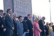 President Bill Clinton, First Lady Hillary, VP Al Gore Princess Margriet of the Netherlands and other dignitaries at the dedication ceremony of the FDR Memorial May 2, 1997 in Washington, DC. The memorial to the US 32nd president spreads across four granite-walled outdoor rooms along a 7.5 acre-swath of West Potomac Park.