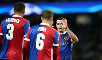 Football - 2017 / 2018 UEFA Champions League - Round of Sixteen, Second Leg: Manchester City (4) vs. FC Basel (0)<br /> <br /> Marek Suchy of FC Basel and Leo Lacroix and Fabian Frei of FC Basel  at The Etihad.<br /> <br /> COLORSPORT