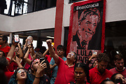 There were jubilant scenes as Luiz Ignacio da Silva (known as Lula) arrived from being released from jail without charge. He has been in prison since April 2018 on alleged corruption charges. He addressed the thousands of supporters, as they chanted Lula Livre (free Lula) at the Metal Workers Union in Sao Bernardo, where he was president prior to becoming president. Sao Bernado Do Campo, Sao Paulo, Brazil.