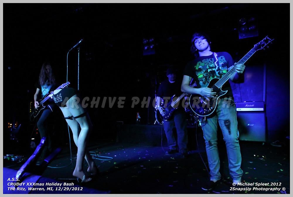 WARREN, MI, SATURDAY, DEC. 29, 2012 : A.S.S., CRUDdY XXXmas Holiday Bash,  at The Ritz, Warren, MI, 12/29/2012.  (Image Credit: Michael Spleet / 2SnapsUp Photography)