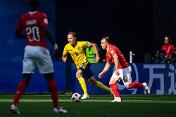 July 3, 2018 - St Petersburg, RUSSIA - 180703 Ludwig Augustinsson of Sweden competes for the ball with Xherdan Shaqiri of Switzerland during the FIFA World Cup round of 16 match between Sweden and Switzerland on July 3, 2018 in St Petersburg..Photo: Joel Marklund / BILDBYRÃ…N / kod JM / 87748 (Credit Image: © Joel Marklund/Bildbyran via ZUMA Press)