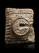 Hittite cuneiform clay tablet. A Property donation deed - Hattusa (Bogazkoy),  1700 BC to 1500BC - Museum of Anatolian Civilisations, Ankara, Turkey. Against a black background