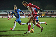 Matt Crooks (Accrington Stanley) is fouled just outside the box during the Sky Bet League 2 match between Accrington Stanley and Hartlepool United at the Fraser Eagle Stadium, Accrington, England on 19 January 2016. Photo by Mark P Doherty.