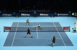 Mike an Bob Bryan in action against during their doubles match against Bruno Soares (bottom left) and Jamie Murray during day two of the NITTO ATP World Tour Finals at the O2 Arena, London.