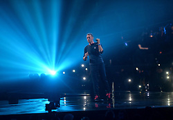 Chris Martin on stage at the BRIT Awards 2017, held at The O2 Arena, in London.<br /><br />Picture date Tuesday February 22, 2017. Picture credit should read Matt Crossick/ EMPICS Entertainment. Editorial Use Only - No Merchandise.