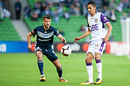 Melbourne Victory midfielder Terry Antonis (8) watches on at the Hyundai A-League Round 2 soccer match between Melbourne Victory and Perth Glory at AAMI Park in Melbourne.