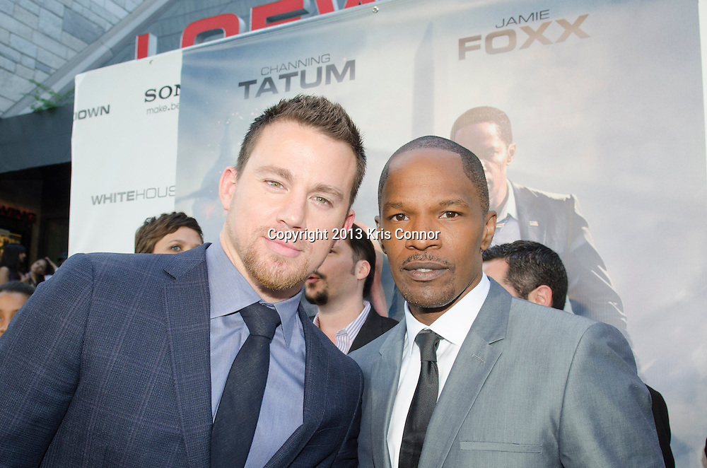WASHINGTON DC JUNE 21: Actors Channing Tatum and Jamie Foxx pose on the red carpet during the DC premiere of White House Down at AMC Georgetown in Washington DC on June 21, 2013.<br /> Photo by Kris Connor/Sony Pictures