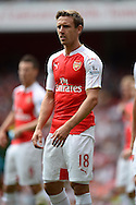 Nacho Monreal of Arsenal looking on. Barclays Premier League, Arsenal v West Ham Utd at the Emirates Stadium in London on Sunday 9th August 2015.<br /> pic by John Patrick Fletcher, Andrew Orchard sports photography.