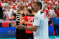 23-09-2019 NED: EC Volleyball 2019 Poland - Germany, Apeldoorn<br /> 1/4 final EC Volleyball - Poland win 3-0 / Coach Andrea Giani of Germany