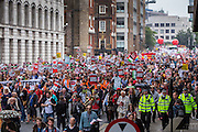 The People's Assembly Against Austerity 'End Austerity Now' demonstration enroute to Parliament square, attended by over 250,000 people on Saturday 20th of June 2015 sending a clear message to the Tory government; demanding an alternative to austerity and to policies that only benefit those at the top. London, UK.