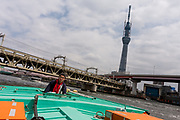 The captain of a yakatabune (pleasure boat on the Sumida River) passes Tokyo Skytree under construction in Asakusa, Tokyo Japan. Sunday April 10th 2011. When finished this telecommunications tower will measure 634 metres from top to bottom making it the tallest structure in East Asia..