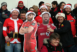 Scarlets fans in festive fancy dress before the European Champions Cup, pool three mach at Parc y Scarlets, Llanelli.