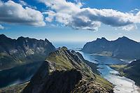 View towards Reine from near summit of Helvetestinden, Moskenesoy, Lofoten Islands, Norway
