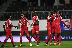 January 10, 2018 - Angers, France, France - joie des joueurs de Montpellier apres le but de Isaac Mbenza  (Credit Image: © Panoramic via ZUMA Press)