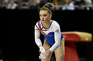 Amy Tinkler of Great Britain (GBR) prepares for the beam on her way to winning the women's bronze during the iPro Sport World Cup of Gymnastics 2017 at the O2 Arena, London, United Kingdom on 8 April 2017. Photo by Martin Cole.