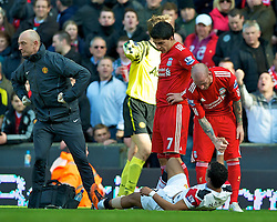 06.03.2011, Anfield Road, Liverpool, ENG, PL, Liverpool FC vs Manchester United, im Bild Manchester United's Nani goes down injured during the Premiership match against Liverpool at Anfield, EXPA Pictures © 2011, PhotoCredit: EXPA/ Propaganda/ D. Rawcliffe *** ATTENTION *** UK OUT!