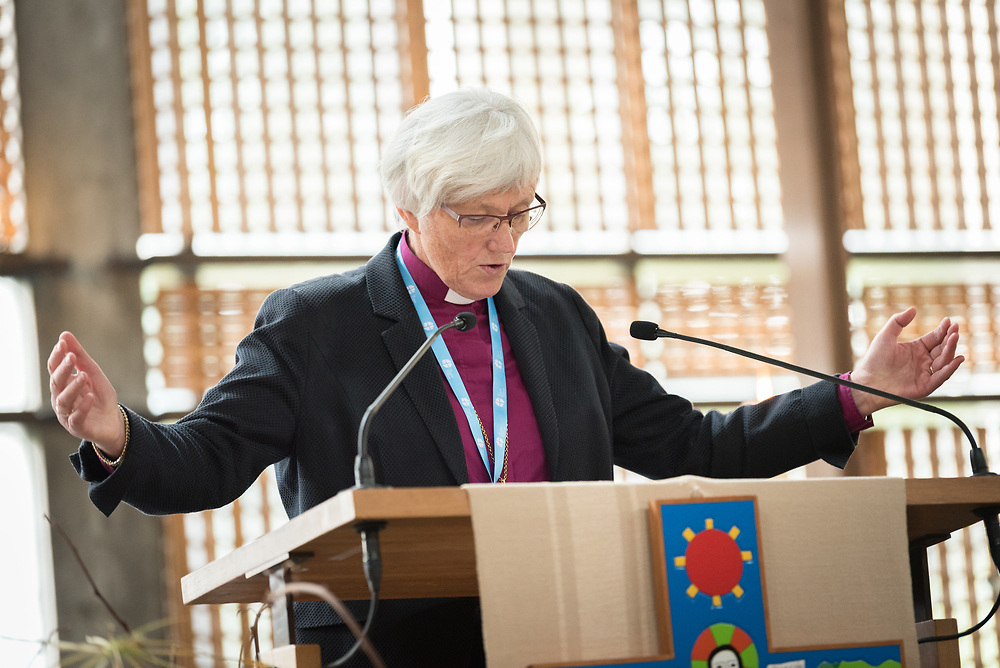 """29 June 2018, Geneva, Switzerland: Bible study, led by Church of Sweden Archbishop Antje Jackelén. The 2018 LWF Council meeting takes place in Geneva from 27 June - 2 July. The theme of the Council  is """"Freely you have received, freely give"""" (Matthew 10:8, NIV). The LWF Council meets yearly and is the highest authority of the LWF between assemblies. It consists of the President, the Chairperson of the Finance Committee, and 48 members from LWF member churches in seven regions."""