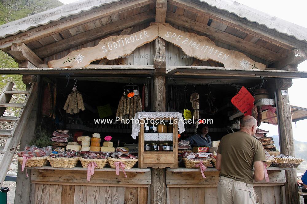 Austria, Tyrol, east Tyrol Timmelsjoch, Italian: Passo del Rombo a high (2509m) mountain pass between Austria and Italy Souvenir shop