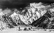 Skiers in camp under K2, Godwin Austen glacier, Karakoram mountains, Pakistan