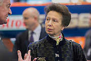 HRH Princess Anne  (here in front od the Bloudhound Jet Car) attends the show with her husband.  They make a tour of the show which includes awarding the Yachtmaster of the Year award, on the RYA stand, as well as meeting Sir Ben Ainslie, on his BAR stand. The CWM FX London Boat Show, taking place 09-18 January 2015 at the ExCel Centre, Docklands, London. 09 Jan 2015.