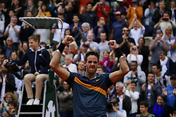 May 30, 2019 - Paris, France - Argentina's Juan Martin del Potro celebrates after winning against Japan's Yoshihito Nishioka during their men's singles second round match on day five of The Roland Garros 2019 French Open tennis tournament in Paris on May 30, 2019. (Credit Image: © Ibrahim Ezzat/NurPhoto via ZUMA Press)