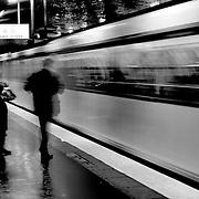 Train arriving -BW, Paris, France (October 2004)