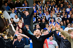 Bristol Rovers supporters look dejected and some chant resiliantly  after a 0-1 loss in the match to confirm their sides relegation from League 2 into the Conference division - Photo mandatory by-line: Rogan Thomson/JMP - 07966 386802 - 03/05/2014 - SPORT - FOOTBALL - Memorial Stadium, Bristol - Bristol Rovers v Mansfield Town - Sky Bet League Two. (Note: Mansfield are wearing a Rovers spare kit having forgotten their own).