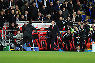 Cardiff city manager Malky Mackay shakes hands with Southampton manager Mauricio Pochettino before he walks straight down the tunnel without waiting for his players at the end of the match. Barclays Premier league, Cardiff city v Southampton at the Cardiff city Stadium in Cardiff,  South Wales on Boxing day, Thursday 26th Dec 2013. <br /> pic by Andrew Orchard, Andrew Orchard sports photography.