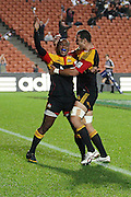 Sitiveni Sivivatu gets congratulated by Romana Graham after scoring his try during the Investec Super 15 Rugby match, Chiefs v Stormers, at Waikato Stadium, Hamilton, New Zealand, Saturday 14 May 2011. Photo: Dion Mellow/photosport.co.nz