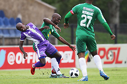 31032018 (Bloem Celtic) Lorenzo Gordinho tackles with (Maritzburg United) Siphesihle Ndlovu during a match were Maritzburg United walloped Bloemfontein Celtic with early goal in the first half of the game at Harry Gwala Stadium in Petermarizburg yesterday.<br /> Picture: Motshwari Mofokeng/ANA
