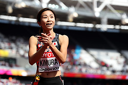 Japan's Ayako Kimura after competing in the women's 100m hurdles during day eight of the 2017 IAAF World Championships at the London Stadium. PRESS ASSOCIATION Photo. Picture date: Friday August 11, 2017. See PA story ATHLETICS World. Photo credit should read: Martin Rickett/PA Wire. RESTRICTIONS: Editorial use only. No transmission of sound or moving images and no video simulation.