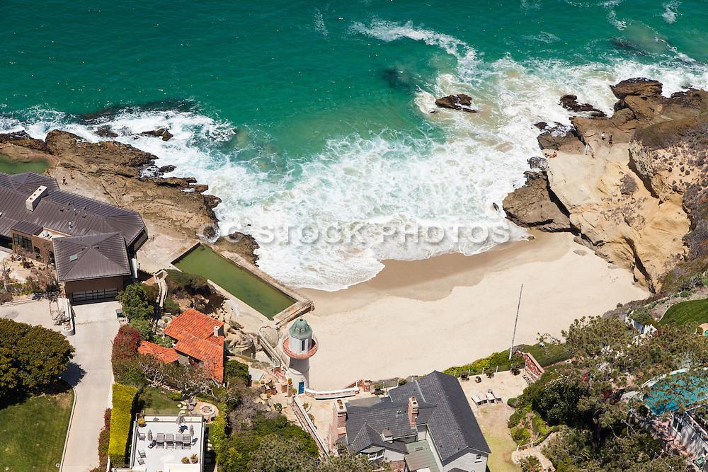 Aerial Stock Photos of Laguna Beach Ocean Front Residences and Secluded Beach