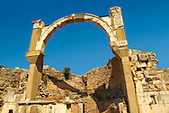 Arch of The Roman  Pollio Fountain, early 1st century B.C. Ephesus Archaeological Site, Anatolia, Turkey. .<br /> <br /> If you prefer to buy from our ALAMY PHOTO LIBRARY  Collection visit : https://www.alamy.com/portfolio/paul-williams-funkystock/ephesus-celsus-library-turkey.html<br /> <br /> Visit our TURKEY PHOTO COLLECTIONS for more photos to download or buy as wall art prints https://funkystock.photoshelter.com/gallery-collection/3f-Pictures-of-Turkey-Turkey-Photos-Images-Fotos/C0000U.hJWkZxAbg