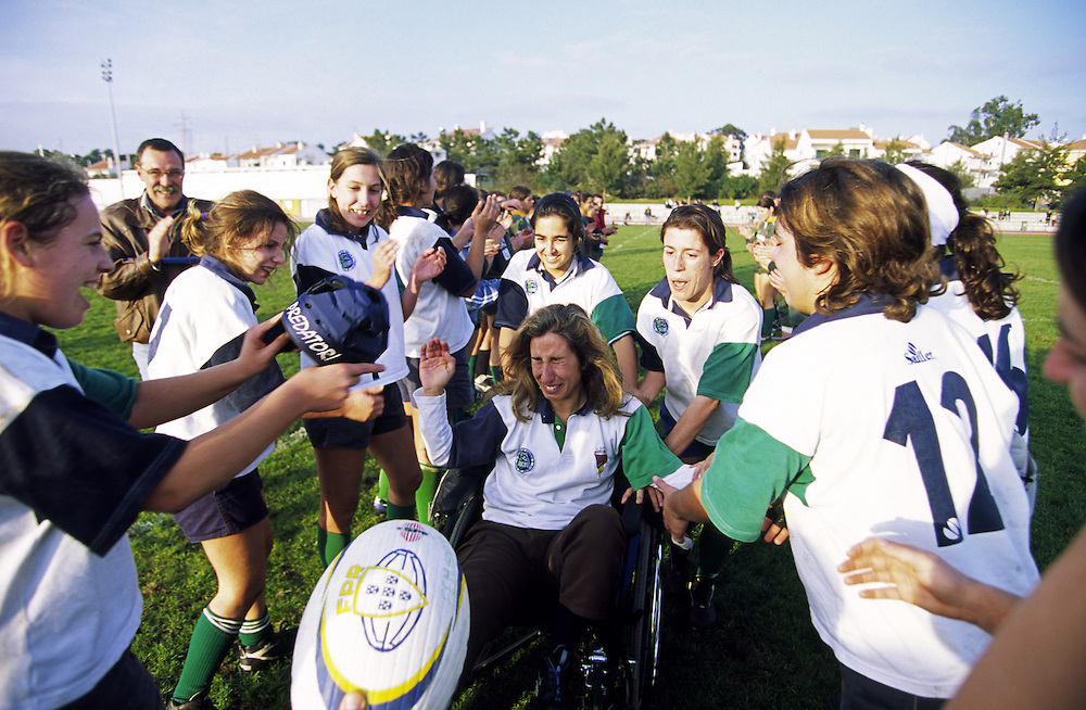 Sofia Nobrega the best portuguese female rugby player ever, celebrates her team conquest of the League title in a wheel chair. She got seriously injured on the knee and she couldn't contribute in the last matches of the championship.