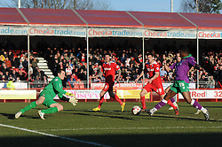Bristol City's Kieran Agard takes a shot at goal. - Photo mandatory by-line: Dougie Allward/JMP - Mobile: 07966 386802 - 07/03/2015 - SPORT - Football - Crawley - Broadfield Stadium - Crawley Town v Bristol City - Sky Bet League One