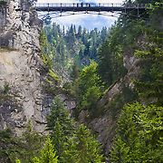 The Marienbrucke bridge spanning a gorge near the famous Neuschwanstein castle in Bavaria, Germany.