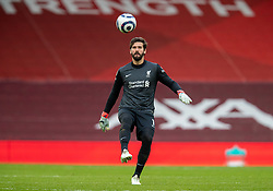 LIVERPOOL, ENGLAND - Sunday, March 7, 2021: Liverpool's goalkeeper Alisson Becker comes up field as his side chase an equaliser during the FA Premier League match between Liverpool FC and Fulham FC at Anfield. Fulham won 1-0. (Pic by David Rawcliffe/Propaganda)
