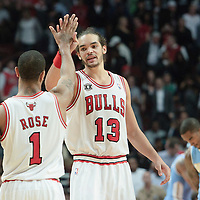 08 November 2010: Chicago Bulls' center #13 Joakim Noah celebrates with Chicago Bulls' point guard #1 Derrick Rose during the Chicago Bulls 94-92 victory over the Denver Nuggets at the United Center, in Chicago, Illinois, USA.