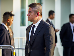 November 3, 2018 - Bangkok, Bangkok, Thailand - NUALPHAN LAMSAM, president and chief executive officer of Muang Thai Insurance and manager of Thailand women's national football team arrives at Wat Debsirin on the first day of funeral rites for Vichai Srivaddhanaprabha. Vichai was the owner of King Power, a Thai duty free conglomerate, and the Leicester City Club, a British Premier League football (soccer) team. He died in a helicopter crash in the parking lot of the King Power stadium in Leicester after a match on October 27. Vichai was Thailand's 5th richest man. The funeral is expected to last one week. (Credit Image: © Sean Edison/ZUMA Wire)