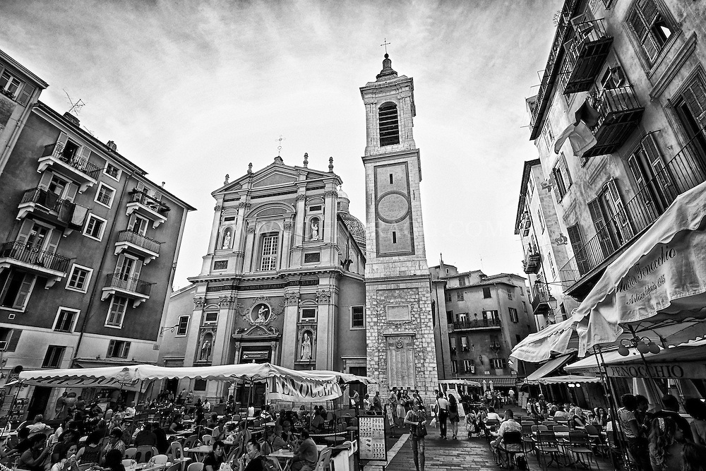 Black and white view of the Cathédrale Sainte-Réparate found in Old Town Nice, France.