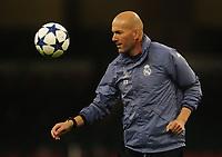 Real Madrid manager Zinedine Zidane <br /> <br /> Photographer Kevin Barnes/CameraSport<br /> <br /> UEFA Champions League Final - Training session - Juventus v Real Madrid - Friday 2nd June 2017 - Principality Stadium - Cardiff<br />  <br /> World Copyright © 2017 CameraSport. All rights reserved. 43 Linden Ave. Countesthorpe. Leicester. England. LE8 5PG - Tel: +44 (0) 116 277 4147 - admin@camerasport.com - www.camerasport.com