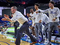Middle Tennessee Blue Raiders head coach Nick McDevitt and the bench react during the UAB Blazers at Middle Tennessee Blue Raiders college basketball game in Murfreesboro, Tennessee, Saturday, February, 15, 2020. Middle lost 79-66.<br /> Photo: Harrison McClary/All Tenn Sports