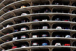 Cars parked inside the Marina City towers, Chicago
