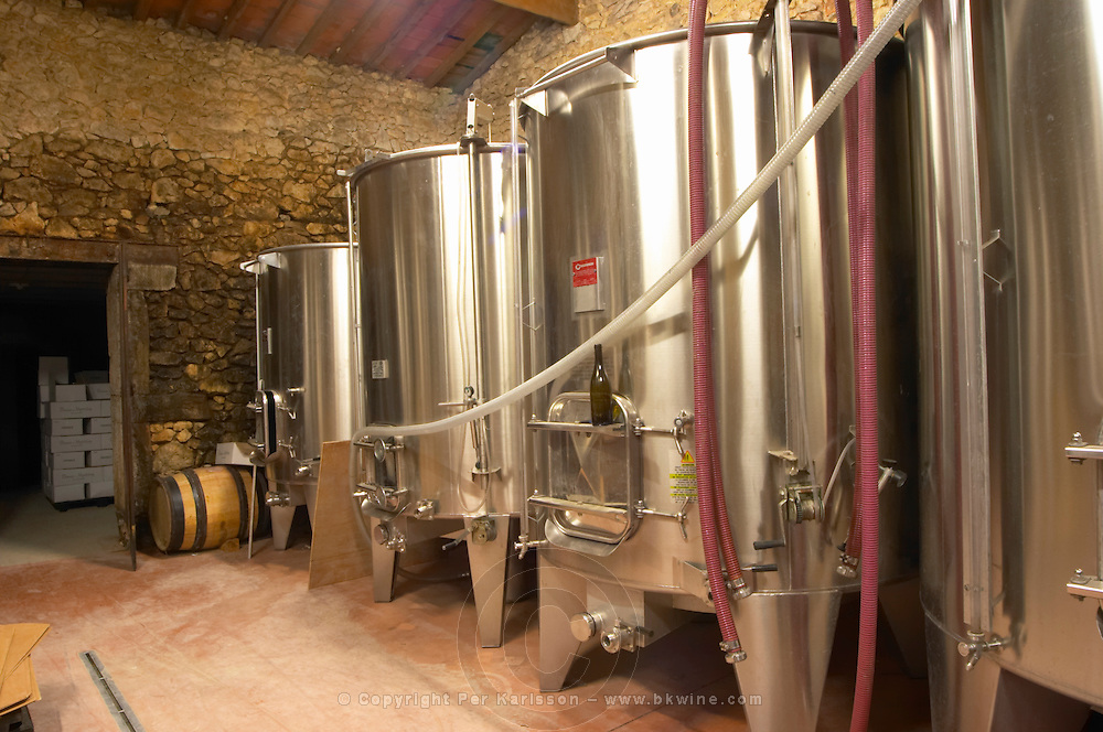 Domaine de Montcalmes in Puechabon. Terrasses de Larzac. Languedoc. Stainless steel fermentation and storage tanks. France. Europe.