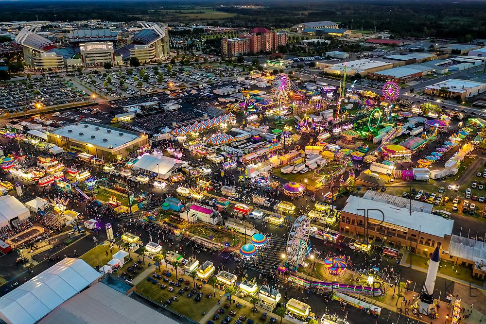Aerial drone photo of the 2018 South Carolina State Fair in Columbia, SC. Photo © www.Jeff BlakePhoto.com