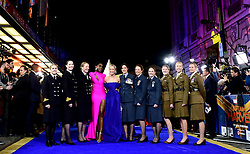 Brie Larson (fifth left), Lashana Lynch and women from the UK Armed Forces attending the Captain Marvel European Premiere held at the Curzon Mayfair, London. Picture date: Wednesday February 27, 2019. Photo credit should read: Ian West/PA Wire