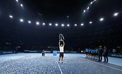 2017?11?19?.    ?????1???——???????ATP???????.       11?19??????????????.       ???????????ATP????????????????????????????2?1???????????????.       ????????.(SP) BRITAIN-LONDON-TENNIS-ATP FINALS-FINAL-DIMITROV VS GOFFIN.(171119) -- LONDON, Nov. 19, 2017  Grigor Dimitrov of Bulgaria celebrates after the singles final against David Goffin of Belgium at the Nitto ATP World Tour Finals at O2 Arena in London, Britain on Nov. 19, 2017. Dimitrov claimed the title by winning 2-1. (Credit Image: © Han Yan/Xinhua via ZUMA Wire)