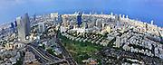 Aerial photography - elevated view of Tel Aviv, Israel metropolitan area Fisheye affect